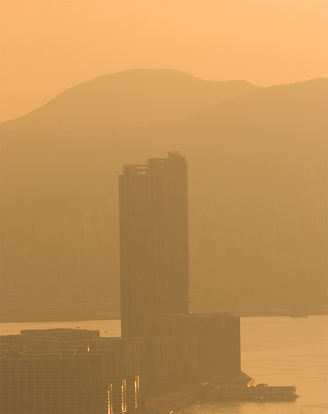 The smog rolled in from the industrial areas of the PRC but the early morning sunlight made an attractive image.