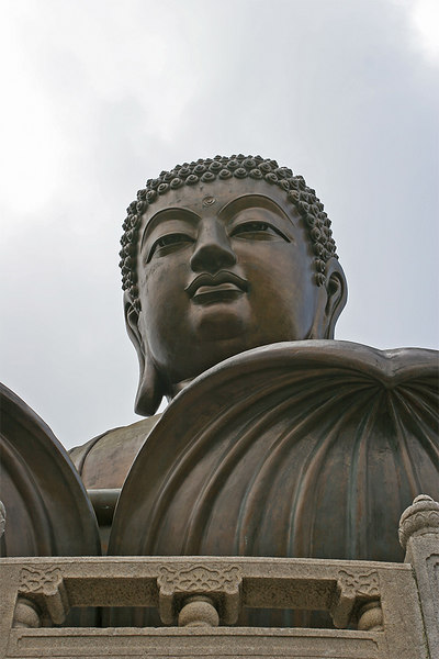 Buddah gives his benign blessing from atop the hill in Lantau.