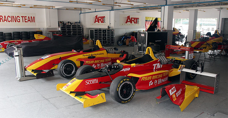 Asia Racing Team Formula Renaults in the garages at Zhuhai International Racing Circuit.