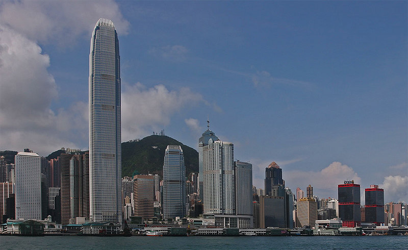 Hong Kong Island from the Star Ferry near Kowloon.