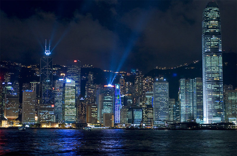 Hong Kong lightshow from the Cultural Centre at Kowloon.