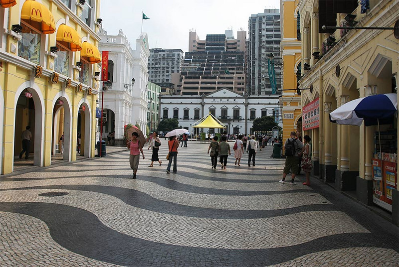 """Even Macau has several """"Maccas"""". The pavement is actually convoluted and the tile pattern adds to the visual effect."""