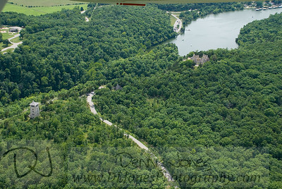Another aerial view of the water tower and castle at Ha Ha Tonka state park.