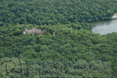 The castle at Ha Ha Tonka with a Lake of the Ozarks cove barely visible.