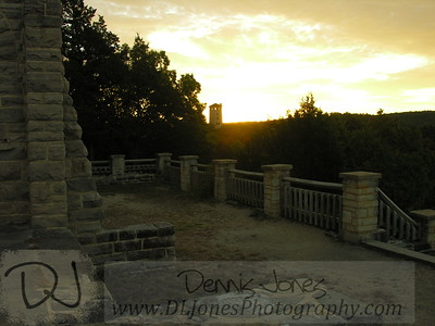 Looking back to the water tower from the castle at Ha Ha Tonka