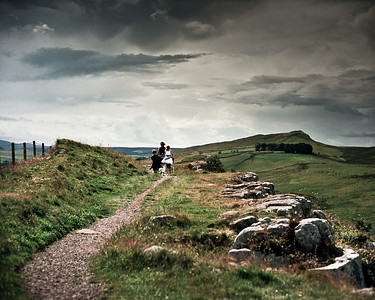 Molly, Ben, Helen, walking the central section of Hadrian's Wall