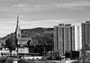All Souls church towers over the 60s blocks of flats - more evidence of quarrying on the hills above