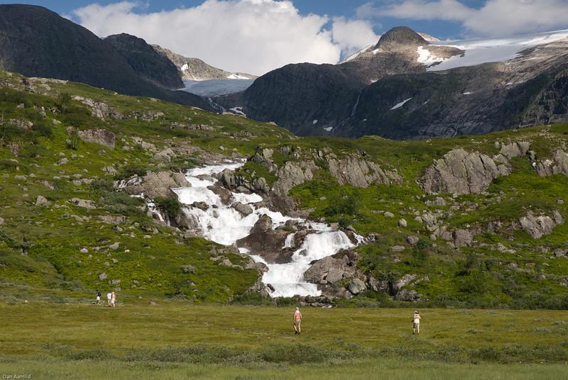 Foss mellom Mevatn og Tredjevatnet (Hestebotsvatnet)