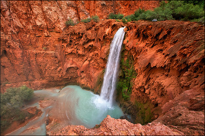 Top view of the Mooney Falls on the Land of Supai Nation in the United States, Arizona.