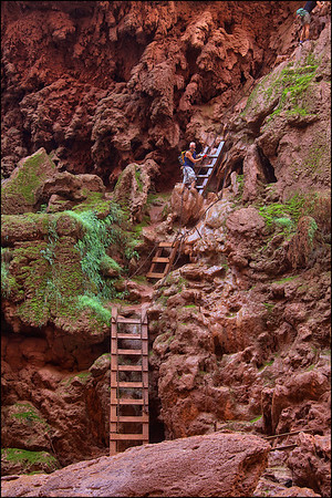 A path of descent to the bottom of Mooney Falls. Land of Supai Nation in the United States, Arizona.