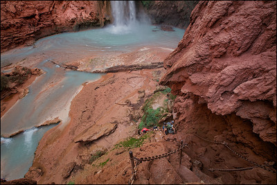 A view of the trail to the bottom of the Mooney Falls. Land of Supai Nation in the United States, Arizona.