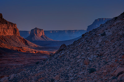 A sunrise seen from the trail entering the canyon on the land of Supai Nation in the United States, Arizona.