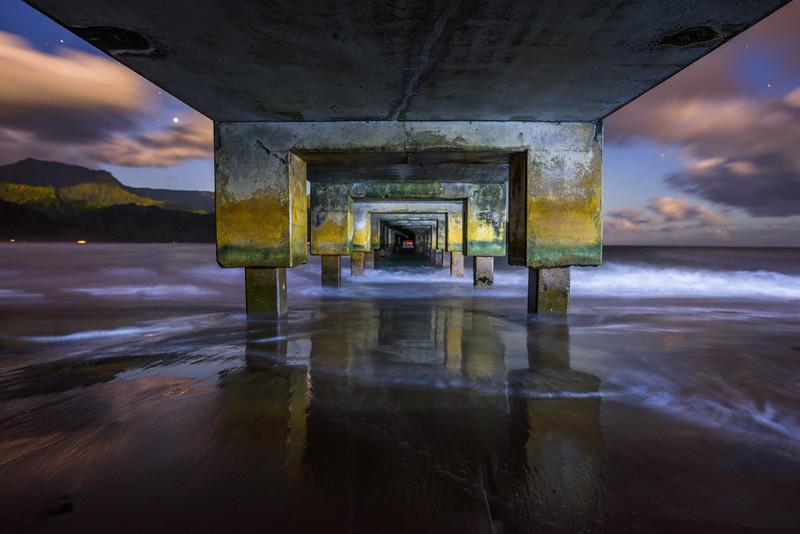 """Under the Hanalei Bay Pier"" Hanalei Bay, Kauai, Hawaii"