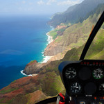 View out of the R-22 Helicopter over the Na Pali Coast in Kauai