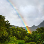 """Hanalei Rainbow!""  We were driving along and saw this fantastic rainbow following us near Hanalei on Kauai.  We got out on a one lane bridge with cars squeezing by us.  I managed to get 1 shot and the rainbow disappeared!!!  It definitely looks like a little pot of gold is at the end along this creek!   I did use a circular polarizer to help bring out the rainbow a little nicer!     Join my almost 5000 fans on facebook over here!  <a href=""http://www.facebook.com/pages/Yosemite-and-Bay-Area-Nature-Photography-by-John-Harrison/190152125697"">http://www.facebook.com/pages/Yosemite-and-Bay-Area-Nature-Photography-by-John-Harrison/190152125697</a>"