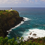"""Kilauea Lighthouse on Kauai"" This is located on Kilauea Point on the island of Kaua'i. There is a national wildlife refuge there. This was a nice afternoon watching the Red-footed boobies flying around and the waves crashing down below. Just another beautiful location on Kauai!"