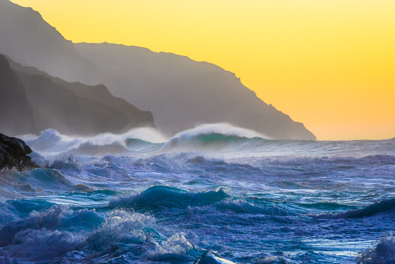 """Napali Coast Waves at Sunset""  Kauai, Hawaii"