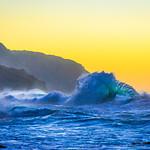 """Kauai Waves at Sunset"" Ke'e State Beach Park, Napali Coast, Kauai."