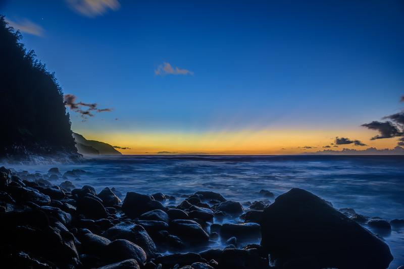 Dusk-Along-the-Ke'e-Beach-Napali-Coast-Kauai-Hawaii-Stars-Clounds-Sunset_D814017