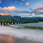 Hanalei Pier in Kauai at Sunrise