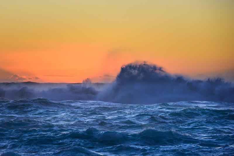 Big Waves and Spray at Sunset, Ke'e Beach, Kauai, Hawaii