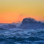 Big Waves and Spray at Sunset, Ke'e Beach, Kauai, Hawaii