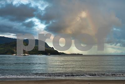 Hanalei Beach Sunrise Rainbow, Kauai, HI