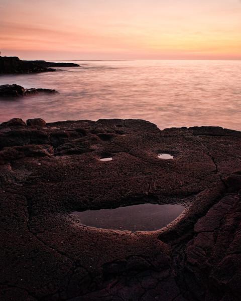 Sunset Smile<br /> <br /> Sunset over the lava rock at Keawakaheka Bay<br /> Big Island, Hawai'i, USA