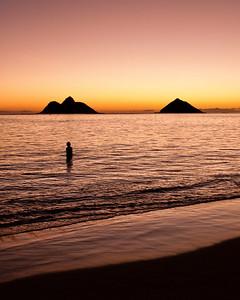 Sunrise Mokes  The blush of sunrise at the Mokes of Lanikai Beach. Oahu, Hawai'i, USA