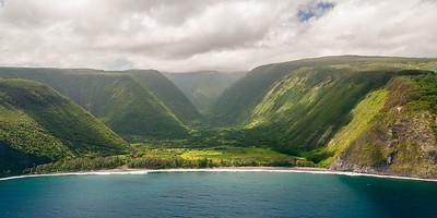 Waipi'o Valley. Blue Hawaiian Helicopters tour of Big Island volcanoes and waterfalls, from Waikoloa Heliport, Hawaii (Big Island), HI.