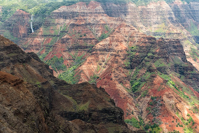 Waimea Canyon, with Waipo'o Falls in the distance.