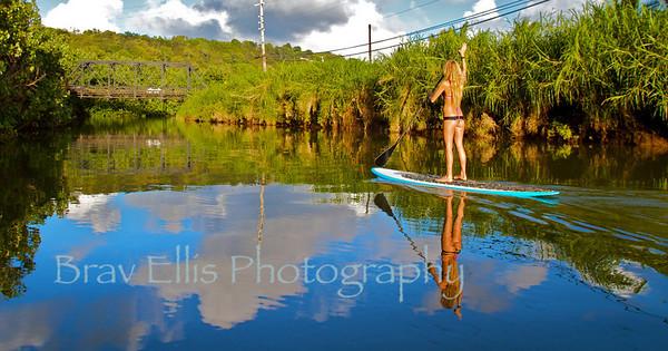 Beautiful Jen paddling Hanalei River