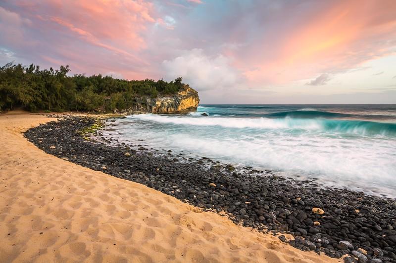 Shipwreck beach sunset