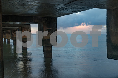 Dock at Hanalei Beach Sunrise, Kauai, HI
