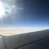 Hazy skys and sun at 37,000 feet