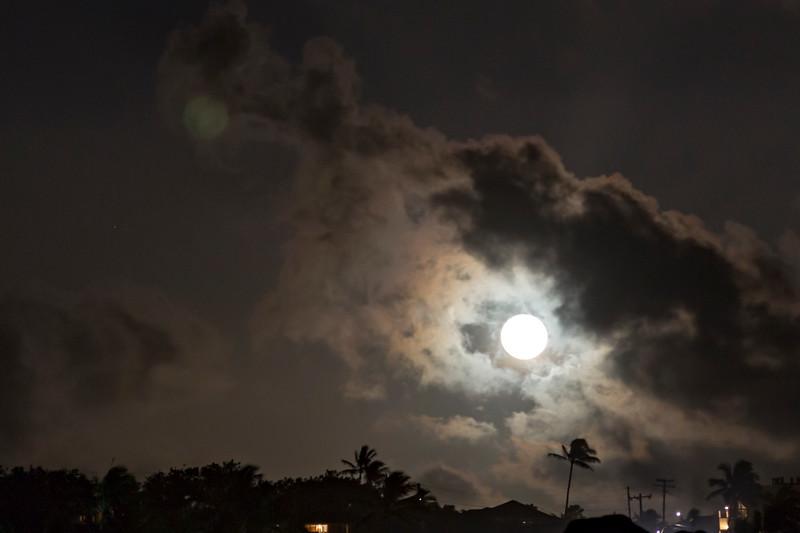Double Reflected Moon over Poipu beach Kauai