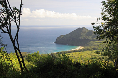 "Kawelikoa Bay on Kauai's South Shore as seen from the Kipu Kai ridge.  This area was made famous in the movie ""The Descendents""."