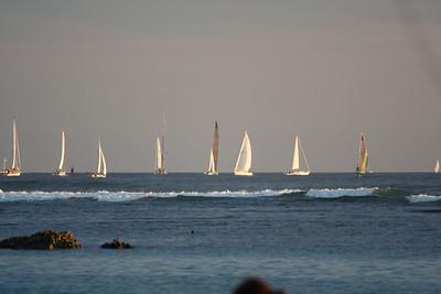 Sail boats off of Ala Moana Beach Park, Honolulu, O`ahu