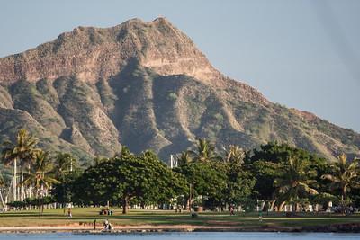 Diamondhead seen from Ala Moana Beach Park, Honolulu, O`ahu