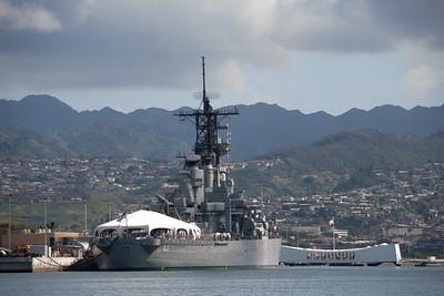 Battleship Missouri Memorial as seen from Pearl Harbor, O`ahu, Hawai`i