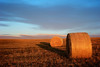 Sun rise over lonely hay bales