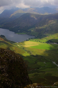 Looking down at Buttermere from the summit