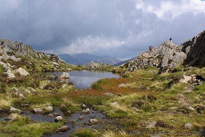 The summit just to the right of the tarn