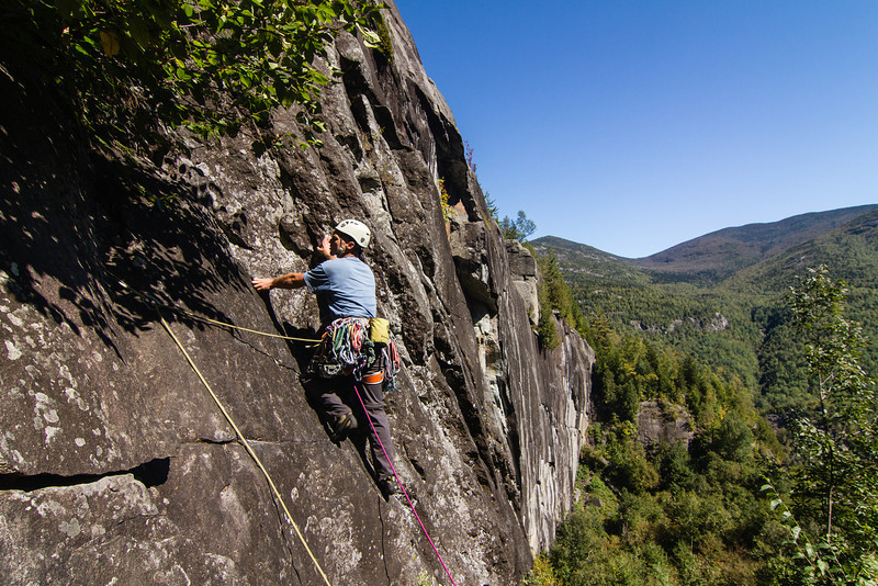 Dave on P1 of Prince 5.7, King Wall, Adirondacks.