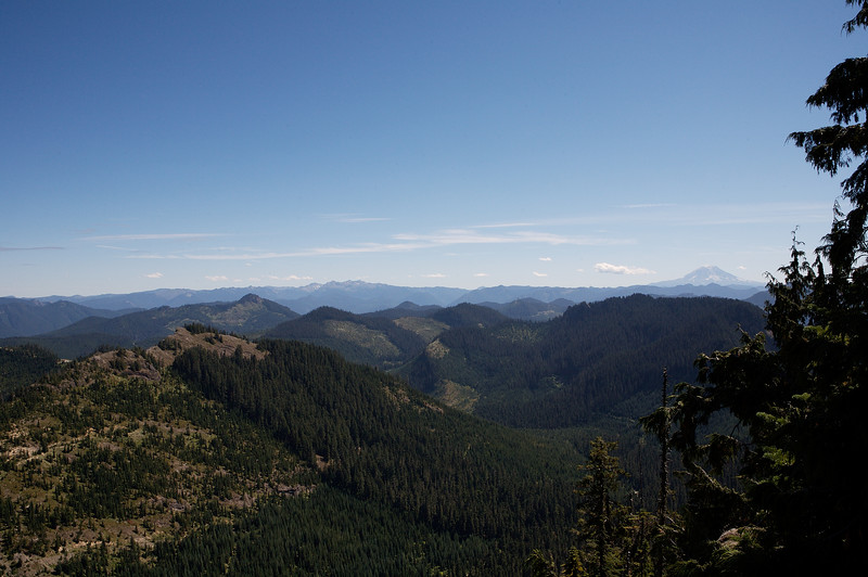 This photo was also taken from the parking area at the trailhead, this time looking south.  Mt Adams is in the distance at right.