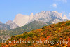 Sunlit Mountain Top with Colorful Foliage