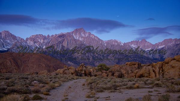 Sierra moonset at dawn