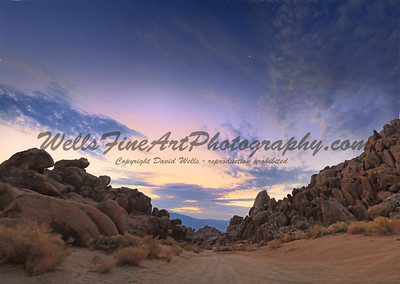 Dawn and moon in Alabama Hills
