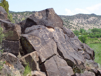 A large stone with numerous petroglyphs.