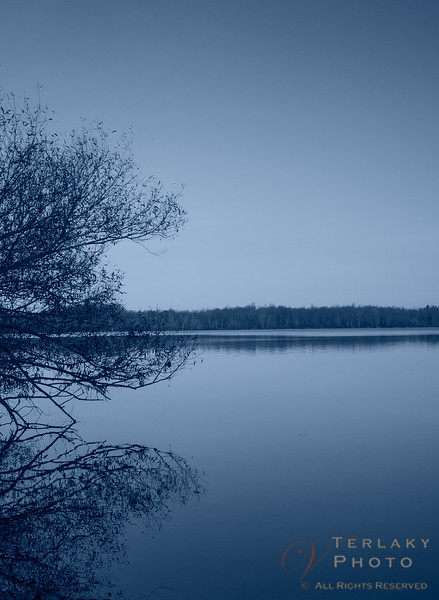 Cold sunrise over the lake.